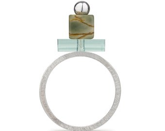 Silver Interchangeable Semi Precious and Perspex Ring : BOB Collection