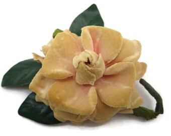 Millinery Magnolia Flower Brooch -  Pink Velvet, for Coat, Hat, Purse Etc