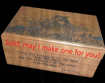 Music Box with Wolf and Cub engraved