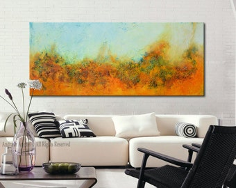 Gold Abstract Painting, Large Gold Abstract, Abstract Original Painting by Andrada 24x60 Orange painting, Mixed media art, modern painting