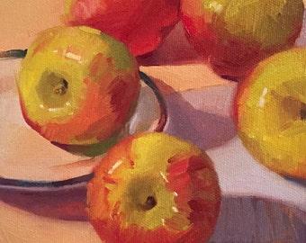 "Art painting small still life by Sarah Sedwick ""Apple Jacks"" 6x6"" framed"