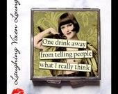 Wine Gift - Funny Pill Box - Compact Mirror - Pill Case - Pill Holder - Purse Mirror - Bag Mirror - Hand Mirror - SVL One Drink