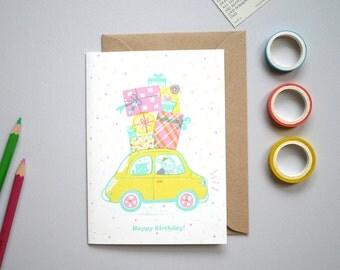 Retro Fiat Birthday - hand printed birthday Card