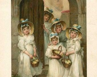 Original Antique Victorian Print, Illustration, 1890 Vintage, Little Bridesmaids, Girls in Victorian Clothing with Flower Baskets