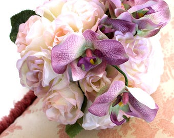 Cream Pink and Purple Orchid bouquet (wedding bouquet) Bridal forever bloom bouquet for classic,country,or contemporary wedding