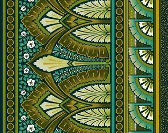Deco Elegance Border Stripe Teal Jason Yenter Fabric 1 yard