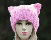 Pussyhat, Ready to Ship, Pink Pussyhat, Pussycat Hat, Pussyhat Project, Pink Pussycat Hat, Cat Hat, Women's Pussyhat, Knit Pussyhat, Vegan