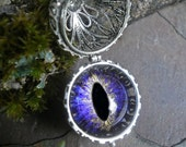 Gothic Steampunk Eye Ball Pendant with Purple Velvet Eye
