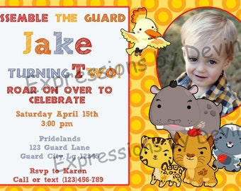 Lion Friends theme Photo Printable Invitation 5x7 Digtial Invitaion