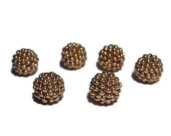 Gold tone beaded beads handmade 10mm beads 6pcs