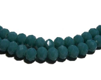 4x6mm Chinese faceted glass crystal beads in Dark Turquoise 70pcs
