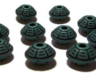 Carved Saucer Beads Dark Green with Black design beads 8x16mm 10pcs