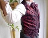 Black and Burgundy Pattern Silk Brocade Steampunk Victorian Lapeled Gentlemen's Vest