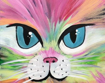 Groovy Cat 12 x 12 acrylic kitty painting