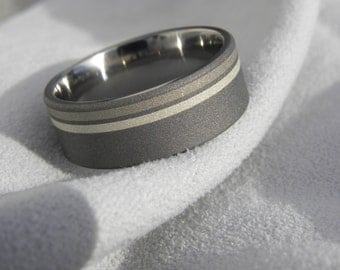 Titanium Silver and White Gold Inlay Ring, Wedding Band, Mens Ring, Sandblasted, Unique Ring