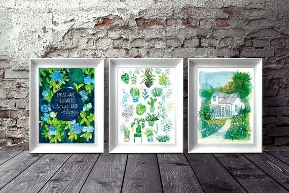 Set of 3 art prints Happiness of Home archival art print hand drawn illustration