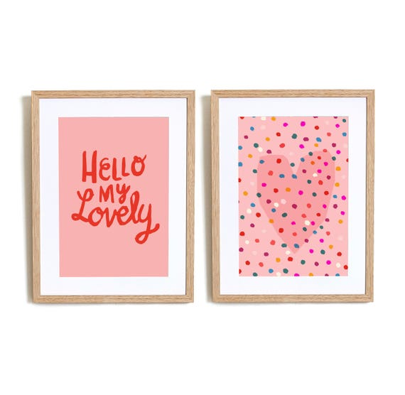 Set of 2  Hello My lovely in Pink Wall art prints nursery illustration kids decor