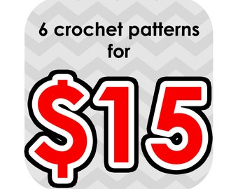 super sale through end of february only - any 6 crochet patterns for 15 - email only