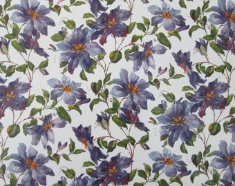 Waterslide decals, fused glass ceramics transfer, Clematis chintz, purple floral, craft supplies, kiln craft, fusible glass art decal,