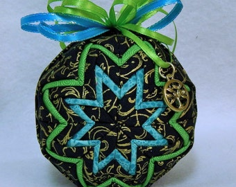 Quilted  Ornament with Tree of Life Charm