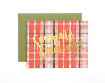 Season's Greetings Plaid Illustrated Card // 1canoe2
