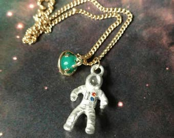 New necklace astronaut galaxy space planet exploration spaceman stars nebula planet Saturn fun cute gold tone NASA