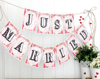 Just Married Bunting. Bright Bunting. Just Married Banner. Wedding Decorations. Indoor Bunting. Wedding Bunting. Wedding Banner. Garland