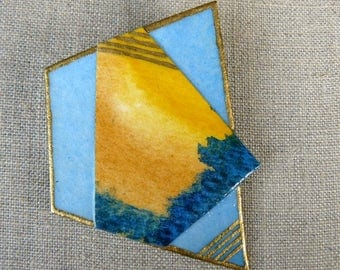 Blue And Gold Brooch, Mustard Yellow Hand Painted Pin, Watercolor Paper Jewelry, Abstract Design Wearable Art