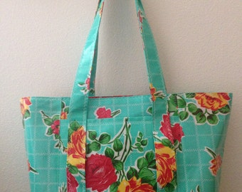 Beth's Large Aqua Vintage Rose Oilcloth Tote with Exterior Pockets and Straps