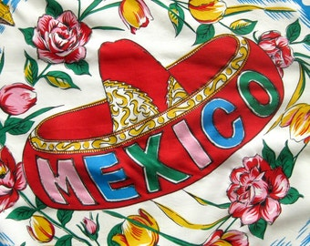 Vintage Rayon Scarf - Travel Souvenir - Mexico Scenic Motif - Toreador - Bullfights - Cactus Flowers - Red Roses with Glitter