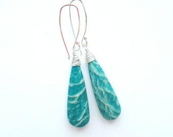 Amazonite Earrings Big Stone Earrings Drop Earrings Blue Earrings Unique Stone Earrings Large Stone Earrings Bohemian Earrings