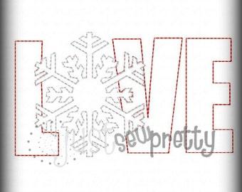 Love Snowflake Applique Redwork Embroidery Design