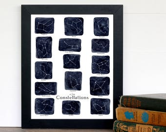 8 x 10 A Few Constellations Print - Stars, Montessori, Educational, Astronomy, Nature Study