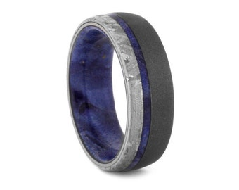 Wooden Wedding Band, Meteorite Ring With Sandblasted Titanium And Blue Box Elder Burl, Outer Space Inspired Jewelry