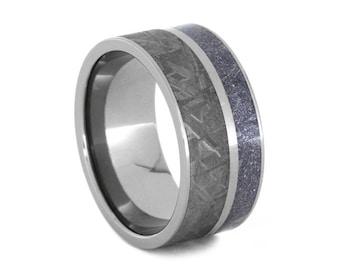 Meteorite Ring With Blue Bronze and White Mokume Gane, Titanium Wedding Band, Unique Mens Ring