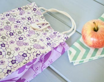 Insulated Organic Cotton Lunch Bag -- Purple Floral -- PLASTIC FREE!