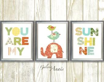 Nursery Art Baby Nursery Decor Elephant Nursery Wall Art You Are My Sunshine nursery Kids wall art Bird Nursery - Set of 3 Prints