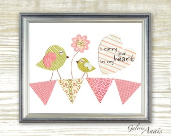 I carry your heart in my heart - baby girl room kids wall art -  pink and green birds - children wall art - bird pink flags print