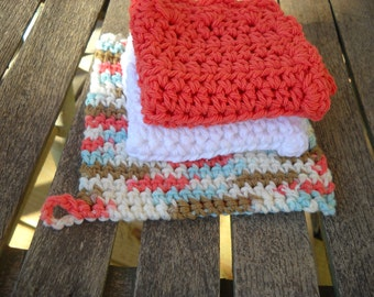 Potholder and Dishcloth Cotton  Crocheted Hot Pad.   Extra Thick