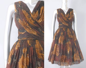 vintage silk floral chiffon dress | vintage 1950s floral dress | vintage chiffon dress