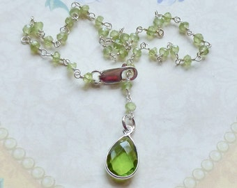 Peridot Gemstone Anklet - Peridot Gemstone Sterling Silver Rosary Chain Ankle Bracelet - Green Gemstone Anklet