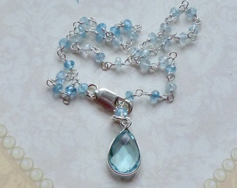 Blue Topaz Gemstone Anklet - Blue Topaz Gemstone Sterling Silver Rosary Chain Ankle Bracelet - Blue Gemstone Anklet