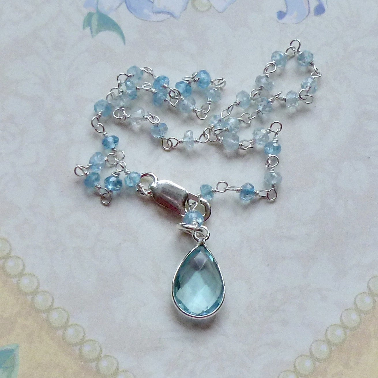 Blue Topaz Gemstone Anklet Blue Topaz Gemstone Sterling