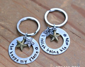 "Husband and Wife Hamilton ""Love Quotes"" Hand stamped Key Chains - Hamilton Fan - Hamilfan Gift - Couples Gift (set of 2)"