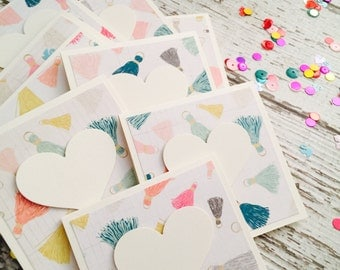 Tassels Love Mini Heart Cards