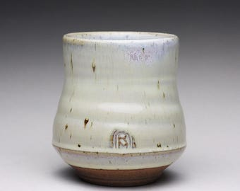 handmade pottery cup, ceramic tumbler, stoneware teacup with creamy white and light blue wood ash glazes
