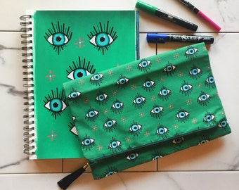 Green Evil Eye Fold Over Clutch, Large Clutch Handbag, Gift for her, Fold Over Clutch, Evil Eye Clutch, Made in the USA, Evil Eye Purse