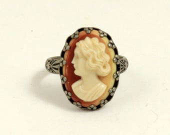 Vintage Art Deco Style Celluloid Cameo Ring, Silver Tone Metal, Costume Jewelry, US Size 6-3/4, UK Size N