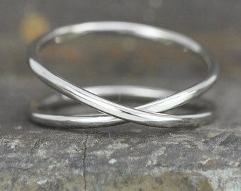 14K Palladium White Gold Infinity Eternity Ring, Unique Wedding Band, Sea Babe Jewelry