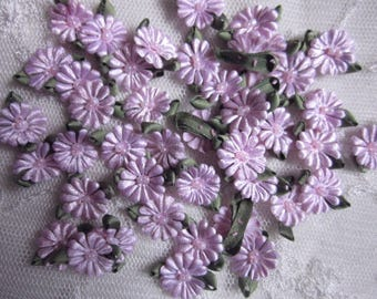 Fabric Flowers 72pc ORCHID Beaded Daisy Shabby Chic Baby Doll Costume Pageant Hair Bow Bridal Wedding Favor